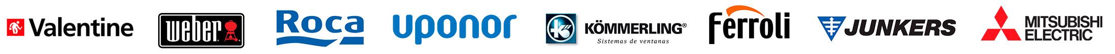 TST Reformas Integrales trabaja con las principales marcas: Valentine, Weber, Roca, Iponor, Kommerling, Ferroli, Junkers, Mitsubishi Electric...